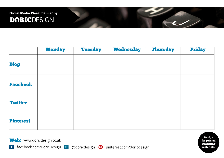 Free Social Media Week Planner Craftbnb